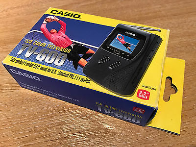 """vintage / retro 21 YEAR OLD handheld TV – CASIO TV-600 Colour 2.2"""" screen BOXED"""