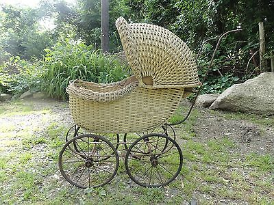 Vintage Victorian Wicker Baby Carriage Stroller