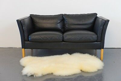 VINTAGE RETRO DANISH STOUBY  2 SEATER LEATHER  SOFA 1970s