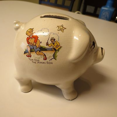 Vintage Rare Nursery Rhyme Piggy Bank-  Old Mother Hubbard and Tom Tom the Piper