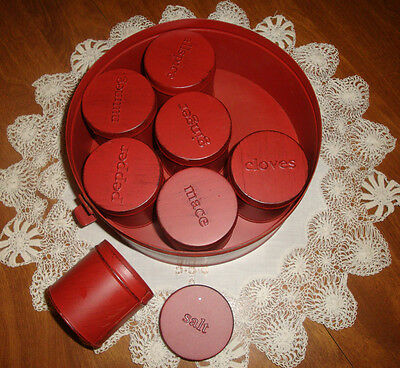 Vintage Spice Container Set 8 Piece Including Round Metal Container Country Red!