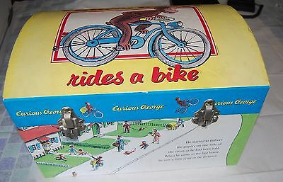 "Rare Curious George Toy Chest Rides A Bike  16""x 10"" Metal Latch & Handles"