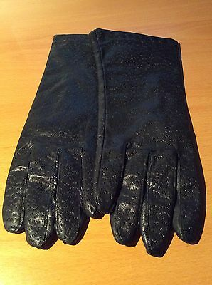 Women's Genuine Leather Textured Black Gloves Acrylic Lined Size L