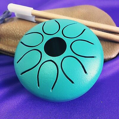 "WuYou  3"" 8cm Steel Tongue Drum / handpan, 7 notes Green, portable smallest drum"