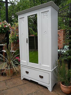 Pretty Vintage Victorian Style Carved Detail Mirrored Wardrobe Shabby Chic
