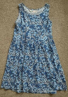 H&m Girls Blue Floral Summer Dress Age 6-8 Years (6)