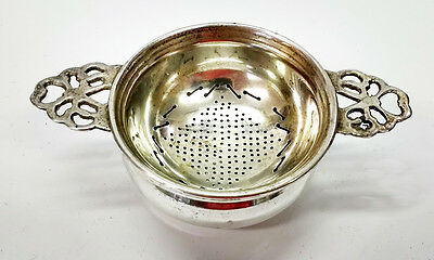 Antique East Indian Silver Tea Strainer With Bowl