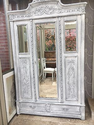 Antique Belgian Painted Solid Wood Wardrobe