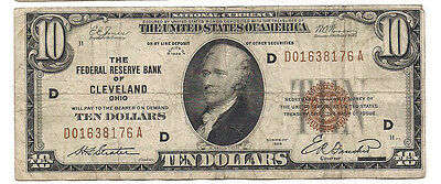 U.S. (Cleveland, OH) - Series of 1929 $10.00 National Currency Banknote