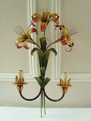 Gorgeous Large Tole Sconce Wall Light Lamp Italian Lilies Light Applique Fleurs
