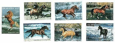 1996 Nicaragua - Race Horses - 7 Stamps - Various Values
