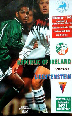 Republic Of Ireland V Liechtenstein 12/10/1994 Euro Championship
