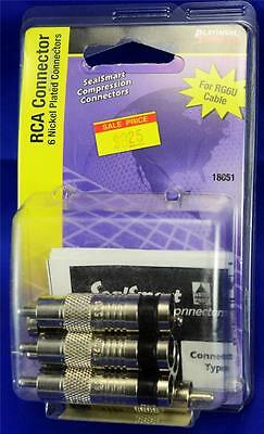 NEW Platinum Tools 18051 RCA Nickel Plated Cable Wire Connectors 6 Pack RG6U RG6
