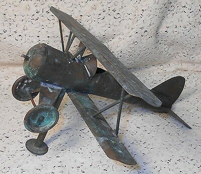 Vintage Patina Copper Bi-Wing Airplane Weathervane
