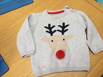 Marks And Spencer Baby Boy Reindeer Christmas Jumper 9-12 Months RRP:£12