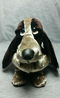 HUSH PUPPIES Special Velvet Edition Beanbag Brown/Gold Bassett Hound Dog w/ Tags