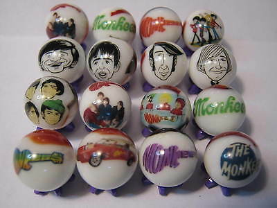 THE MONKEES GLASS MARBLES 5/8 SIZE collection lot + STANDS