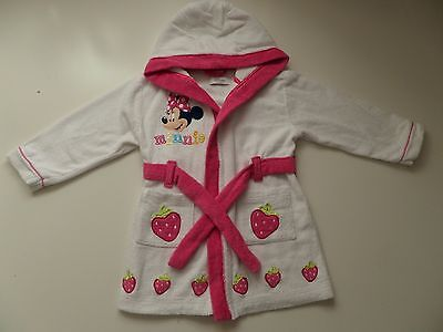 Disney Store -Minnie Mouse Soft Cotton Bathrobe Dressing Gown -Baby Girl 18-24 M