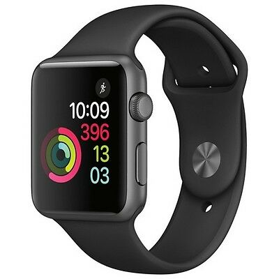 Mint Apple Watch  42mm Space Gray Aluminum Case Black Sport Band  (MP032LL/A)