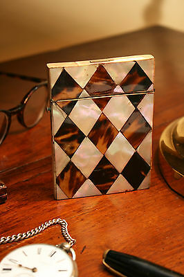Antique c19th Harlequin Card Case for Restoration, M.O.Pearl & Faux T-Shell