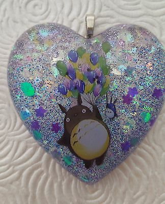 My Neighbor Totoro blue and purple glitter resin heart pendant ghibli kawaii