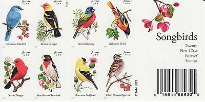 Songbirds Stamp Booklet -- Usa #4882-#4891 Forever 2014