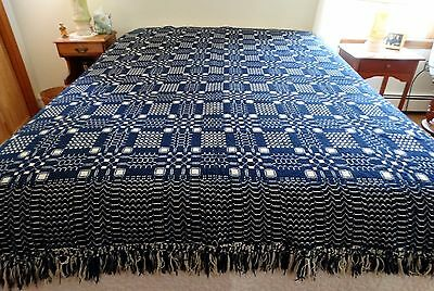 Antique BLANKET COVERLET TEXTILE DOUBLE WOVEN Squares Finge Deep Blue and White