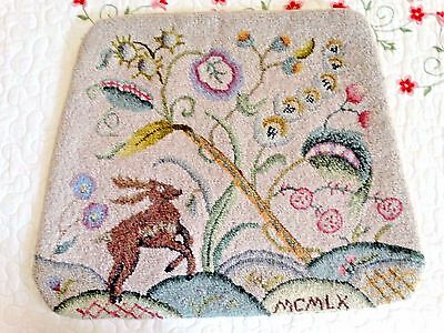 Vintage Hand Hooked Rug Chair Cover Signed with date MCMLX 1960 Deer Flora OOAK