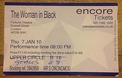 The WOMAN In BLACK THEATRE TICKET Memorabilia London West End 7 Jan 2010 Collect