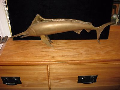Antique Bronze Sailfish Swordfish Marlin Nautical Fish Statue Figure 20 Inches