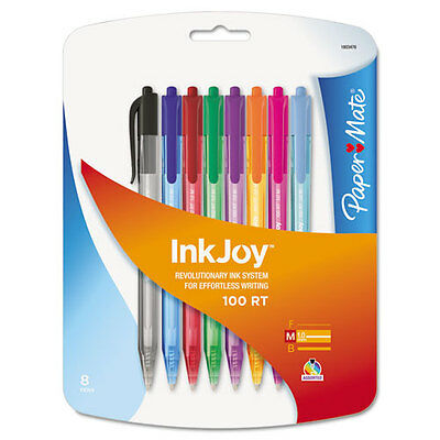 InkJoy 100RT Retractable Ballpoint Pen,1.0 mm, Assorted, 8/Pk