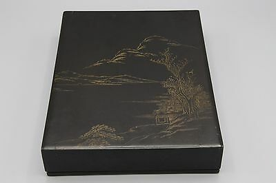 Vtg Calligraphy Set in Wood Lacquer Box Etched Lid 7.5 x 10 Black