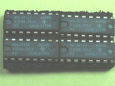 "SN74LS175N  ""Original"" Texas Instruments  16 Pin DIP TTL IC  NOS  4  pcs"
