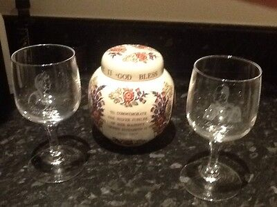 Queens Silver Jubilee Pair Of Wine Glasses And Ginger Jar.