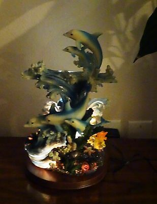 """Five Dolphins coral figurine table lamp, changing colors, ships free"""""""