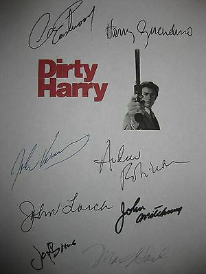 Dirty Harry Signed Script X8 Clint Eastwood Guardino John Vernon Robinson reprnt