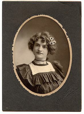 Lovely girl with daisies in hair antique photo ORIGINAL