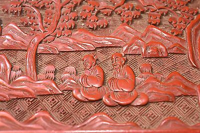 FINE 1900c CHINESE RED LACQUER CINNABAR COVERED BOX W PEOPLE