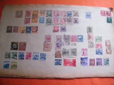 Old Time Japan, Odd China Collection On Very Old Paper. Many Early Stamps.