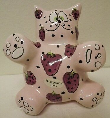 Ganz Meowberry Strawberry Cat Bank By Pati Hand Painted