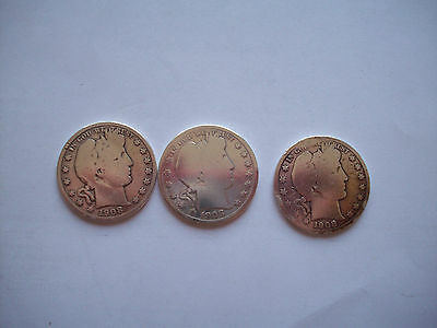 lot of three 1908 barber halfs- O- S- D