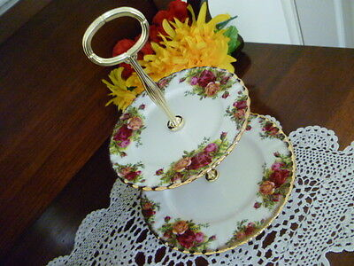 Beautiful  Royal Albert Old Country Roses 2 Tier Cake Stand  Made In England