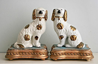 Antique Pair c19th Staffordshire Dogs, Separate Legs, Copper Lustre Glaze, 6""""