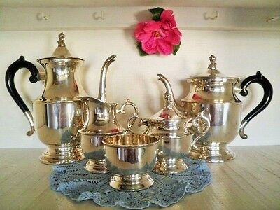 Vintage Tea & Coffee Set 5Pc Leonard Silver Plated Quality Teapot Coffee Pot Vgc