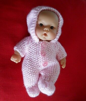 """Doll Clothes Hand-knit Vintage Style Pink Easter Suit Fits 8"""" Berenguer Kewpie"""
