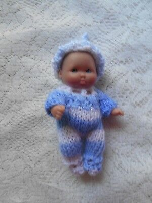 """Doll Clothes White-blue Knitted Sleeper set footed for Berenguer Baby 5"""" ooak 6"""