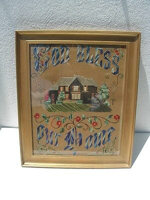Antique 1800s GOD BLESS OUR HOME Punch Paper Sampler