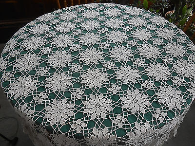 Light Beige Hand Crochet Lace Tablecloth In A Lovely Flower Pattern, Circa 1930
