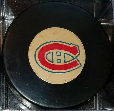 Vintage Montreal Canadiens Converse Art Ross Tyer Hockey Puck CCM LOGO  USED USA
