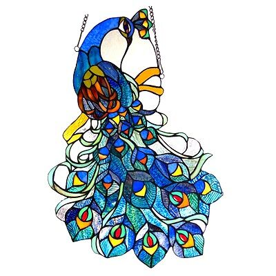 ~LAST ONE THIS PRICE~   Peacock Tiffany Style Stained Glass Window Panel 17 x 25